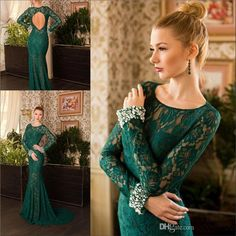2015 Mermaid Evening Gowns Lace Long Sleeves Dark Green Open Back Sweep Train Sheer Sexy Prom Party Gowns Special Formal Wear Custom Made Online with $136.65/Piece on Marrysa's Store | DHgate.com