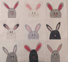 I love these grey bunnies with pops of pink! So much fun! Free pattern: http://www.shinyhappyworld.com/2015/03/mix-match-free-bunny-applique-pattern.html