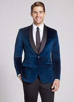 Blue velvet shawl collar tux