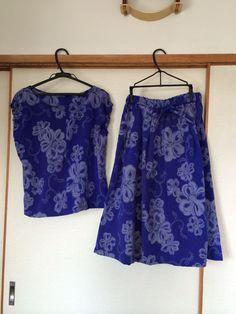 母のお召しの着物を夏のブラウスとスカートにしました。