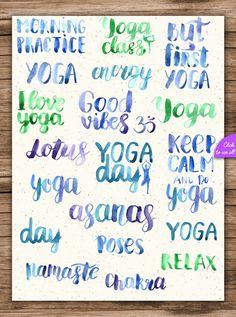 Watercolor Yoga Asanas by pippi-draws on @creativemarket