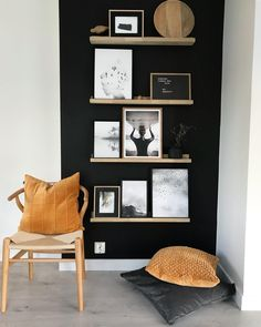 Why leave corners in your home empty! Don't be afraid of using black, it can create a really striking look when used in small doses and when paired with natural woods tones and a accent of colour. Would you be bold enough to use black in your home?