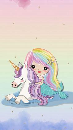 "Unicorns and mermaids or overly ""kawaii "" stuffUnicorn unicorn wallpaper for android Unicorn Drawing, Unicorn Art, Cute Unicorn, Rainbow Unicorn, Chibi Unicorn, Unicorn Pictures, Mermaid Pictures, Unicornios Wallpaper, Wallpaper Backgrounds"
