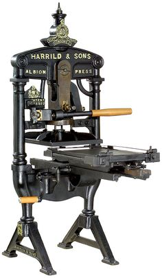 """""""Albion Press"""" by Harrild & Sons, London, c. Antique Tools, Old Tools, Printing Press, 3d Printing, Tool Sheds, Ex Machina, Art Graphique, Letterpress Printing, Old Antiques"""
