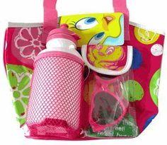 Small Pink Tweety Bird Beach Bag with Waterbottle and Sunglasses - Tweety Bir...