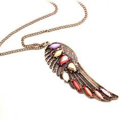 Vintage Multi-color Wing Pendant Chain Necklaces