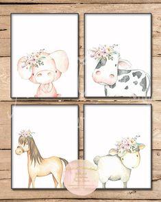 Boho Farm Animal Set / Printable Nursery Art / Floral / Sheep / Lamb / Cow / Horse / Pig / Baby Girl Nursery Art Decor / Barnyard Bedroom - Top Of The World Horse Nursery, Farm Animal Nursery, Baby Farm Animals, Lamb Nursery, Nursery Décor, Girl Nursery Art, Art Floral, Floral Watercolor, Animal Set