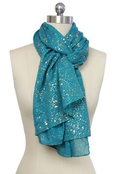 Light Summer. Teal Water Drop Scarf
