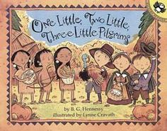 There are 10 busy little Pilgrims & 10 equally busy little Wampanoag children, too! The book One Little, Two Little, Three Little Pilgrims follows them along as they work very hard to prepare for a Thanksgiving feast. Hunting & fishing & planting & gathering make for hungry little children, it's a good thing there are ten big turkeys to eat! A special note from the author & illustrator at the end of the story help to explain a little more about the Pilgrims, Indians, and their way of life.