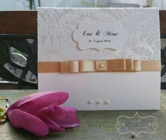 White and beige luxurious wedding invitation   Invitaţii de nuntă  LyMelody https://www.facebook.com/invitatiimelody/