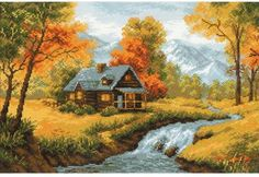 Riolis Autumn View - Cross Stitch Kit. This cross stitch kit contains 14 count cotton fabric, woolen and acrylic yarn in twenty colors, one needle and one color