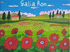 Galia Ron - Red flowers Naive Art, Red Flowers, Folk Art, Arts And Crafts, Kids Rugs, Israel, Inspiration, Space, Google Search
