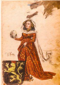 Mechthild von der Pfalz (1419-1482), 1452 Gemahlin Herzog Albrechts VI., Ingeram Codex (f°002) -- Ingeram Wappenbuch (Künstler: Hanns Ingeram, ansässig in Heidelberg), Süddeutschland und Österreich, 1459 -- Klebeband, Folio, 283 Seiten, klassizistischer heller Ledereinband mit Randpressung, auf der Buchhülle das Wappen des Vorbesitzers Johann Friedrich Freiherr von Cotta (1764-1832) -- See more at: http://bilddatenbank.khm.at/viewArtefact?id=372521