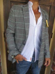 Alan Flusser MENS JACKET Blazer Sport Coat Black Green White Check Plaid NEW 46L #sellingcrazy.com