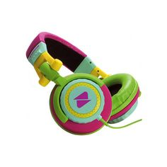 sherbet-colorblock-headphones ❤ liked on Polyvore featuring headphones, music, accessories, electronics, headphones & chargers and filler