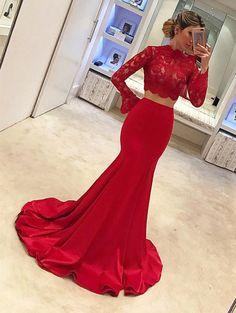 red prom dress,mermaid prom dress,two piece prom dress,prom dresses 2018,mermaid evening gowns
