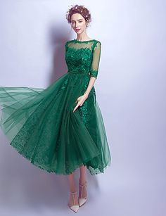 A-Line Illusion Neckline Tea Length Lace Cocktail Party Homecoming Prom Dress with Beading Appliques by MYF