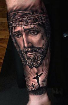 Jesus Tattoos - Tons of Jesus Tattoo Designs & Ideas - Tattoo Me Now Jesus Forearm Tattoo, Jesus On Cross Tattoo, Jesus Tattoo Sleeve, Cool Forearm Tattoos, Arm Sleeve Tattoos, Jesus Tatoo, Leg Tattoo Men, Religious Tattoos For Men, Religious Tattoo Sleeves