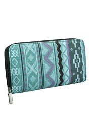 fabric wallet with zipper in ethnic print - maurices.com