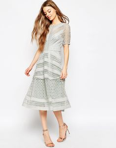 Image 1 of ASOS Premium Occasion Lace Midi Dress