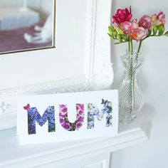 This letters Mother's Day card couldn't be easier to make - great for the kids to have a go - just cut out and stick three letters that spell 'Mum'. Mothers Day Crafts For Kids, Mothers Day Cards, Diy Birthday, Birthday Cards, Frame Crafts, Craft Frames, Camping Gifts, Mother And Father, Kids Cards