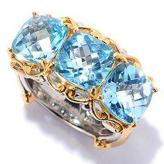146-668- Gems en Vogue 7.05ctw Swiss Blue Topaz Three-Stone East-West Ring