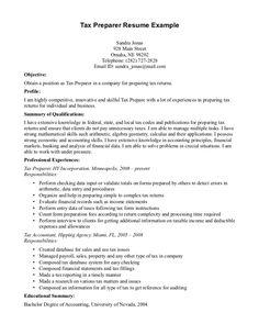 Sample Tax Accountant Resume