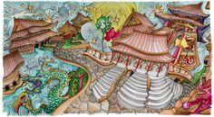 """Chinese Palace,  From Lizzie Mary Cullen book """"Magical City"""". Colored by Me (Roger Malinowski) using Tombow Brush Markers  and Winsor & Newton watercolor markers"""