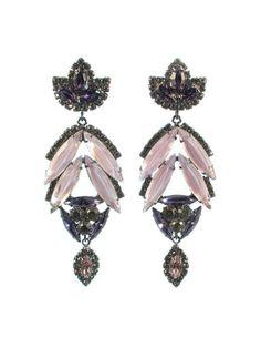 Stunning earrings with Swarovski crystals in pale pink & deep purple.