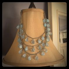 Baroque blue beaded necklace Gorgeous and lavish statement necklace. Baroque styling with three tiers of blue beads that remind me of a chandelier. Hangs so gracefully on the neckline. Beautiful pale blue beads with a hint of white swirled throughout. So rich looking. My husband bought this for me at a local boutique. Amazing quality costume piece. Worn a handful of times and in excellent condition with no flaws. Like new. Boutique Jewelry Necklaces