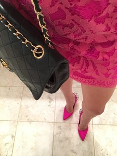 pink-lace-dress-pink-pumps-black-chanel-from-above http://styledamerican.com/fuchsia-fluorescent-lace-dress/