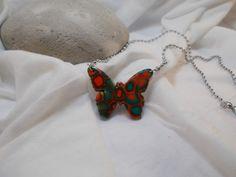 collier papillon multicolore en argile polymère dite fimo : Collier par elisabijoux