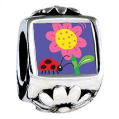 Ladybug Flower Photo Flower Charms  Fit pandora,trollbeads,chamilia,biagi,soufeel and any customized bracelet/necklaces. #Jewelry #Fashion #Silver# handcraft #DIY #Accessory