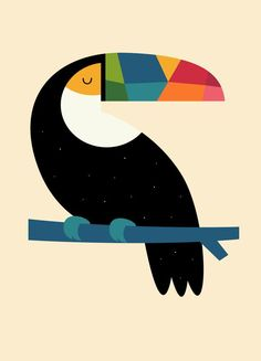 """Beautiful """"Rainbow Toucan"""" metal poster created by Andy Westface. Our Displate metal prints will make your walls awesome. Art And Illustration, Art Challenge, Animal Drawings, Art Drawings, Poster Prints, Art Prints, Fabric Painting, Bird Art, Oeuvre D'art"""