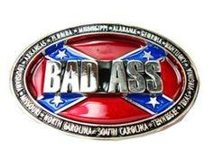 Rebel Flag Bad Ass Belt Buckle