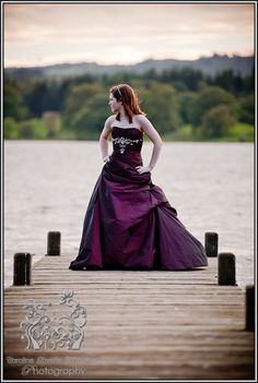 Purple wedding dress, red wedding dress, coloured wedding dress, lake district wedding