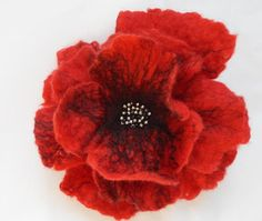 Poppy Flower Hair Clip Felted Hair Accessories by softadditions, £12.60