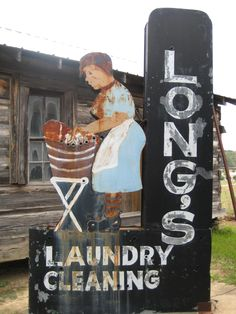 old laundry sign