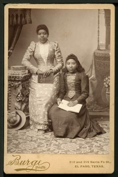 The images of these two African American Women was taken in the photographic studio calles Burges. It was located on 212 and 214 Santa Fe Street.  This kind of card was called cabinet card. First introduced in the 1860s, cabinet card photographs were similar to cartes-de-visites, only larger. Measuring approximately four inches by six inches and mounted on cardstock (similar to cardboard), cabinet card photos got their name from their size—they were just the right size to be displayed on a…
