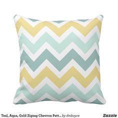 Teal, Aqua, Gold Zigzag Chevron Pattern Throw Pillow