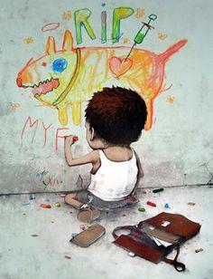 Street art banksy chalk