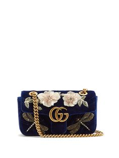 Gucci GG Marmont mini quilted-velvet cross-body bag- blue velvet with embroidered dragonfly beaded detailing