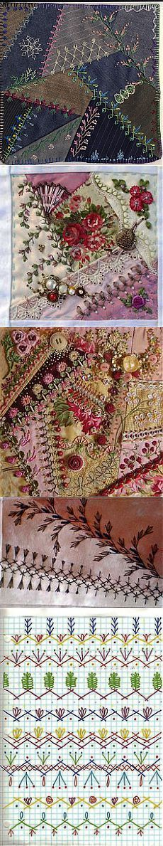 Crazy Quilt embroidery stitches | LindaB | Stitching and embroidering…