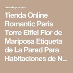 Tienda Online Romantic Paris Torre Eiffel Flor de Mariposa Etiqueta de La Pared Para Habitaciones de Niños Chica de Hadas de Equitación Wall Art Decal Decoración Mural | Aliexpress móvil