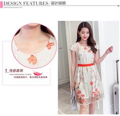 Buy Sienne Floral Print Short-Sleeve Chiffon Dress | YesStyle