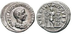 Diadumenian Denarius. M OPEL ANT DIADVMENIAN CAES, draped bust right / PRINC IVVENTVTIS, Diadumenian standing front, looking right, holding sceptre & standard, two standards behind