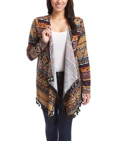 Love this Coffee Geometric Draped Open Cardigan on #zulily! #zulilyfinds