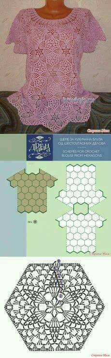 KUFER z artystycznym rękodziełem : Ubrania z kwadratów szydełkowych ze wzorami