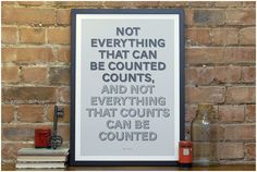 Not everything that can be counted counts, and not everything that counts can be counted.