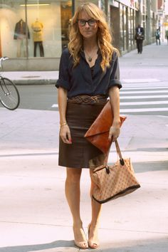 how to wear a leather pencil skirt and still look professional